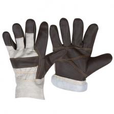 Перчатки кожанные комбинированные утепленные