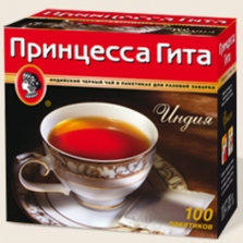 Чай черный Принцесса Гита 100 пакетиков без ярлыка